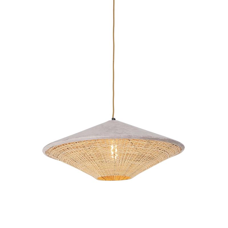 Landelijke hanglamp beige velours met riet 60 cm - Frills Can