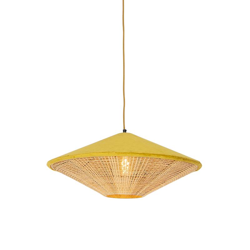 Landelijke hanglamp gele velours met riet 60 cm - Frills Can