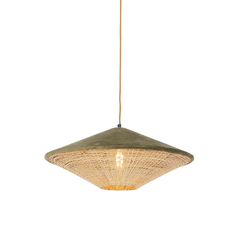 Retro lampa wisząca welur zielona wiklina 60cm - Frills Can