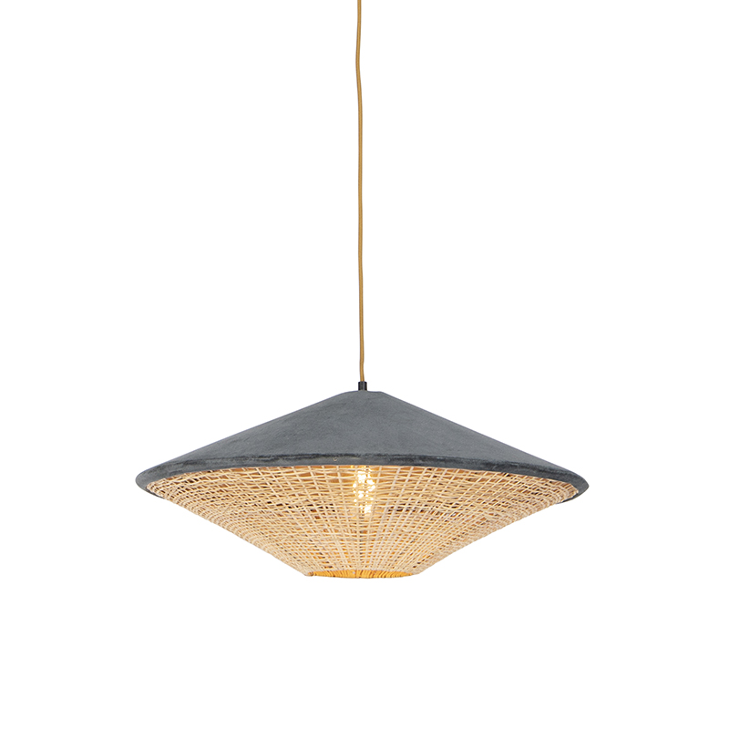 Retro lampa wisząca welur szara wiklina 60cm - Frills Can