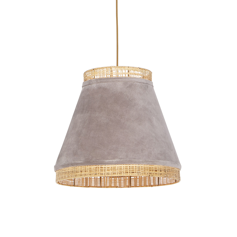 Retro lampa wisząca welur beżowa wiklina 45cm - Frills Can