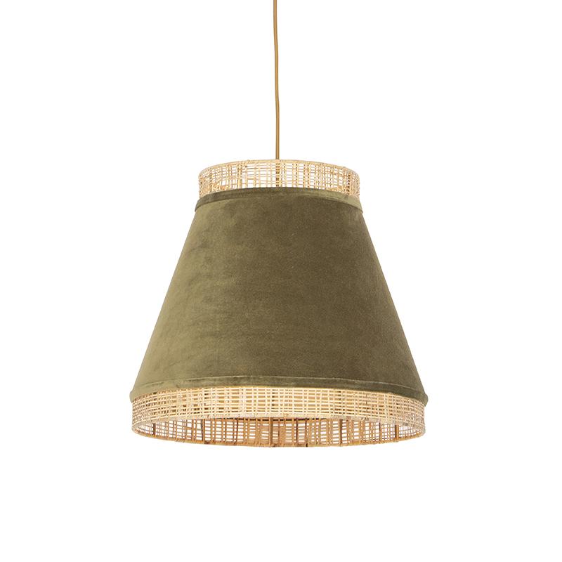 Landelijke hanglamp groene velours met riet 45 cm - Frills Can