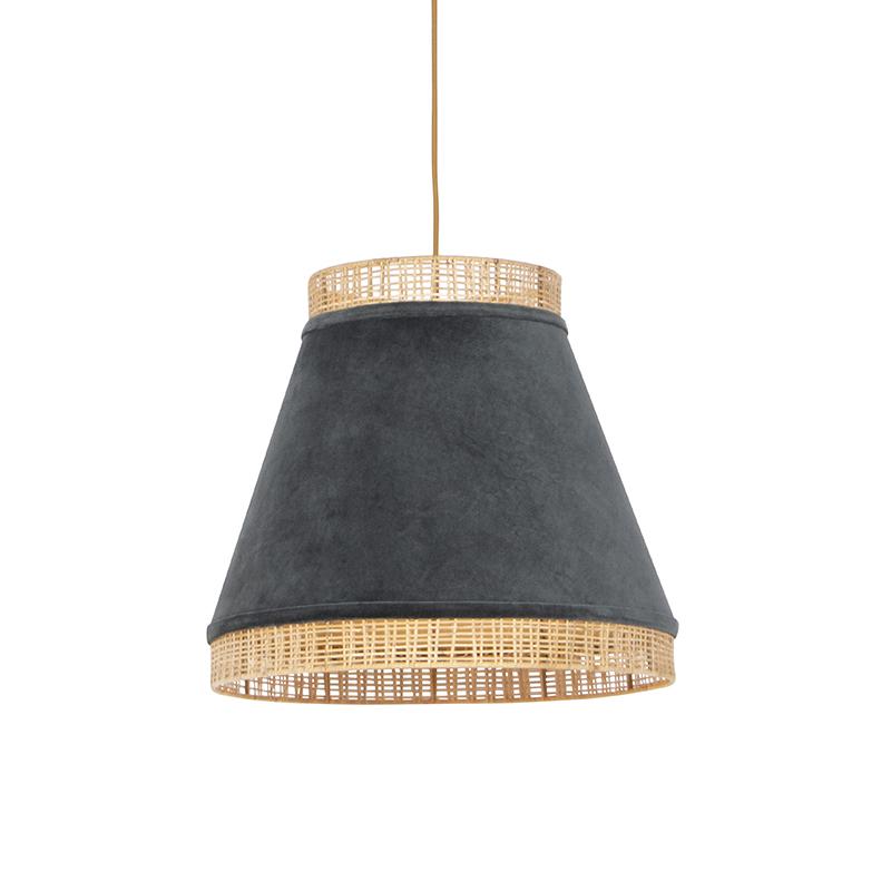 Retro lampa wisząca welur szara wiklina 45cm - Frills Can