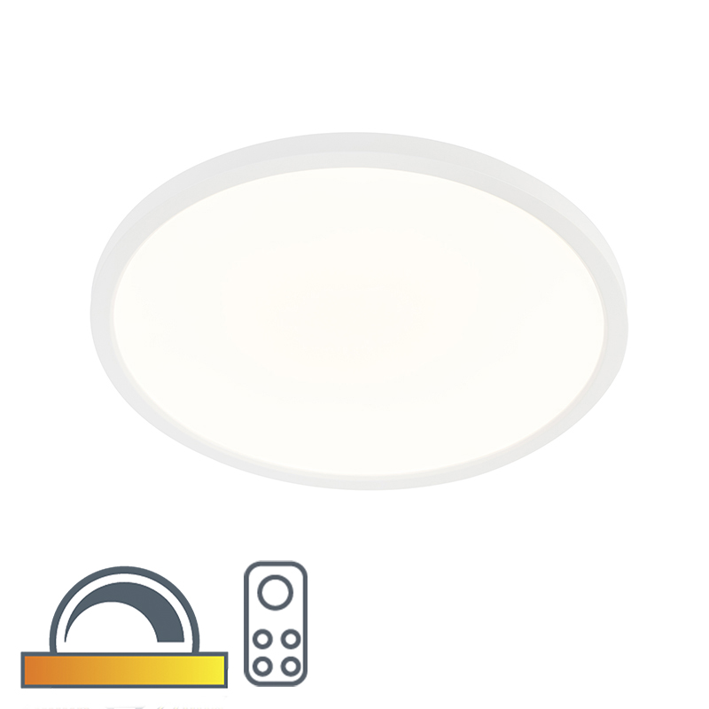 Moderne ronde plafonniere wit 45 cm incl. LED dim to warm - Flat