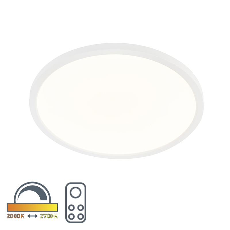 Moderne ronde plafonniere wit 45cm incl. LED dim to warm - Flat
