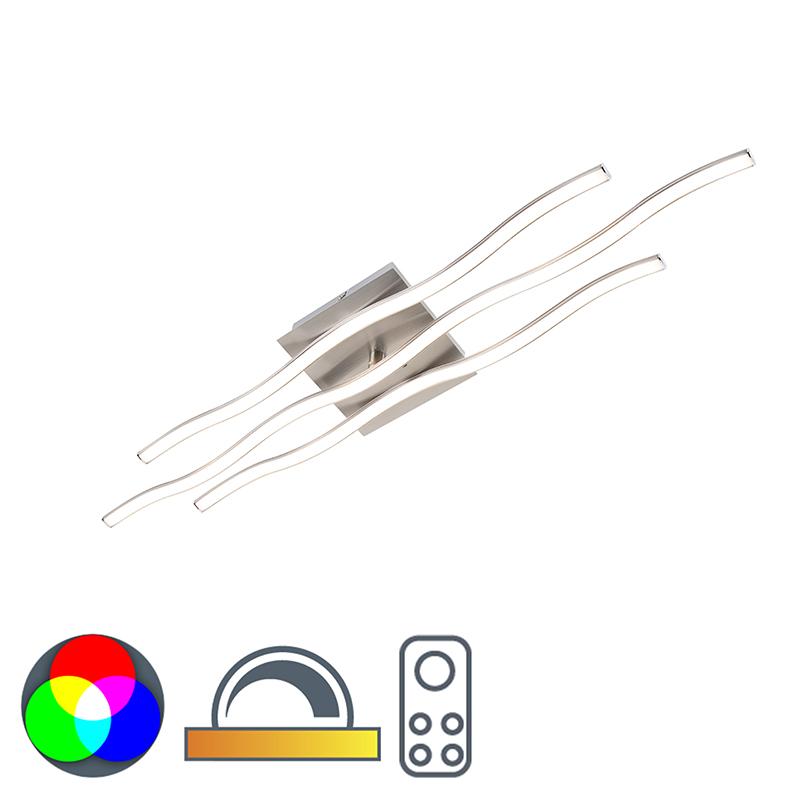 Design plafondlamp staal incl. RGBW LED en afstandsbediening- Onda groot