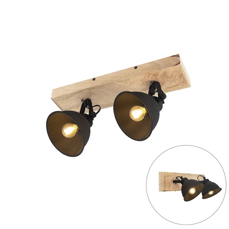 Stoere spot zwart met hout 2-lichts - Fors