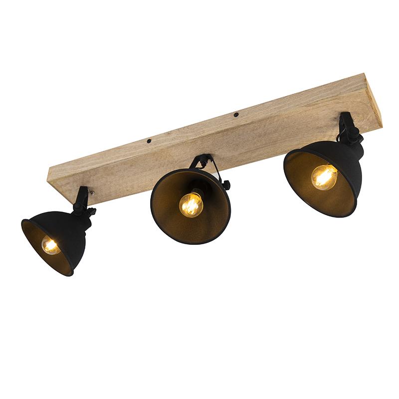 Stoere spot zwart met hout 3-lichts - Fors