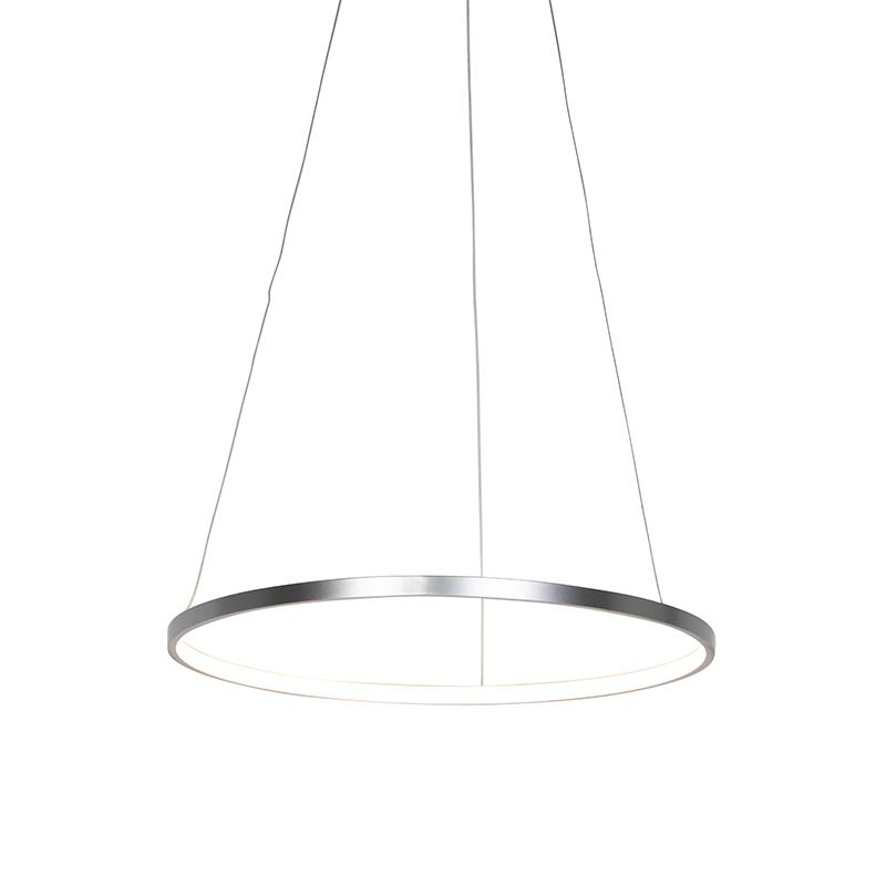 Nowoczesna lampa wisząca srebrna LED 60cm - Anella