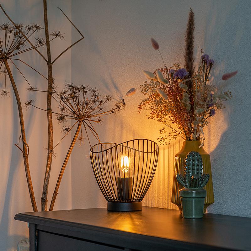 Moderne tafellamp zwart 20 cm - Pua