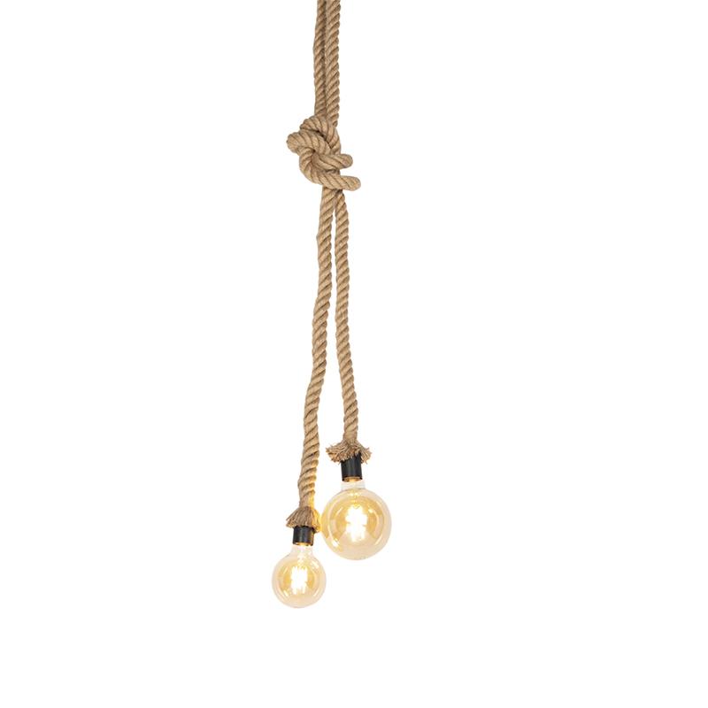 Landelijke hanglamp van touw 2-lichts - Ropa