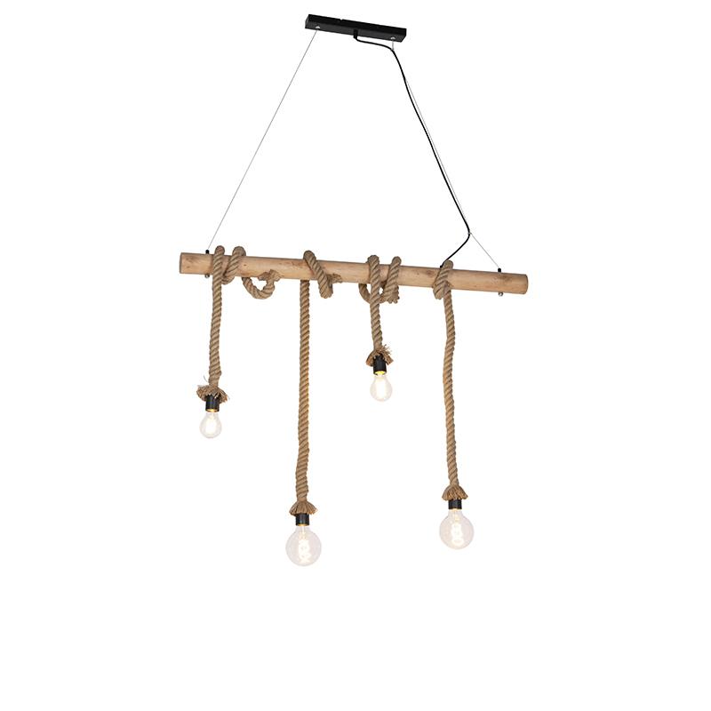 Landelijke hanglamp met hout 4-lichts - Ropa