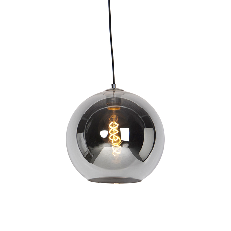 Art deco hanglamp staal met smoke glas 30 cm - Pallot