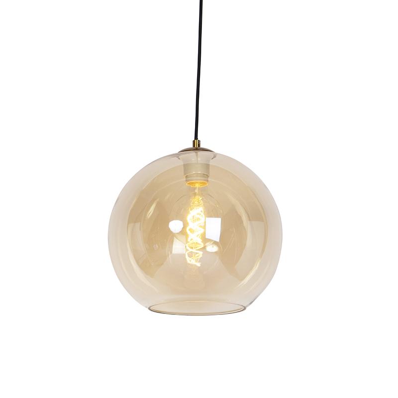 Art deco hanglamp messing met amber glas 30 cm - Pallot