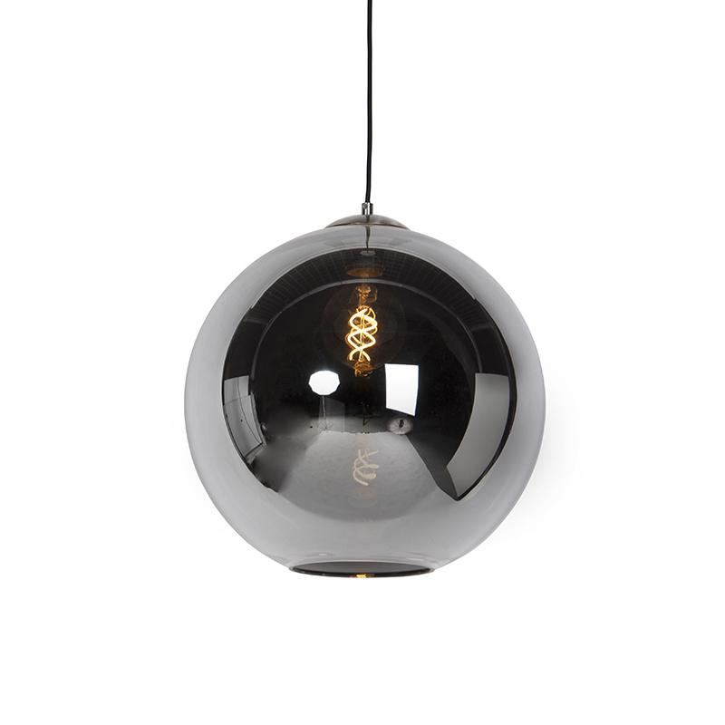Art deco hanglamp staal met smoke glas 40 cm - Pallot