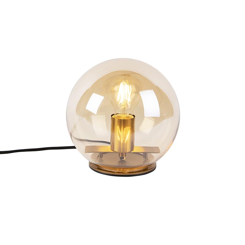 Art Deco tafellamp messing met amber glas 20 cm - Pallot