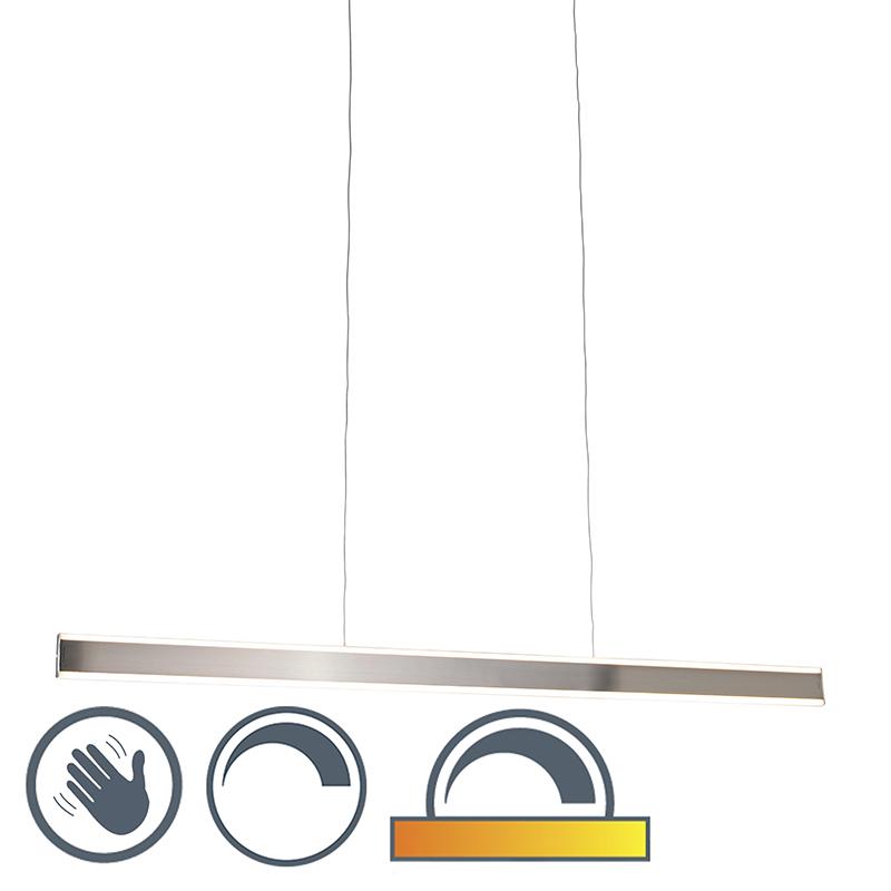 Nowoczesna lampa wisząca ze stalą LED 140 cm przyciemniona do ciepłej - Ollie