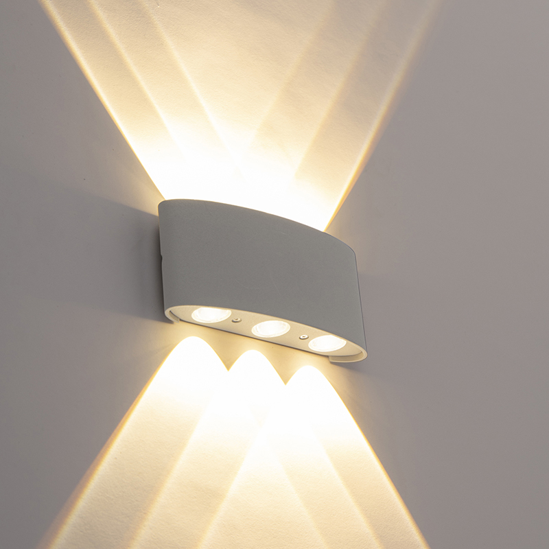 Design buitenwandlamp zilver incl. LED 6-lichts - Silly