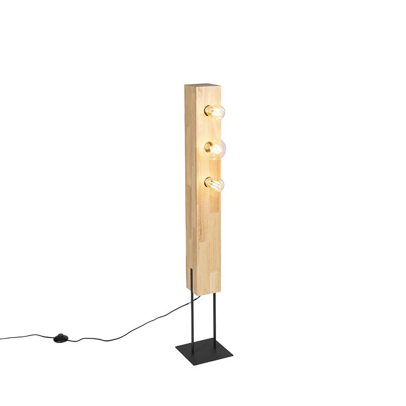 Landelijke vloerlamp zwart met hout 3-lichts - Sema