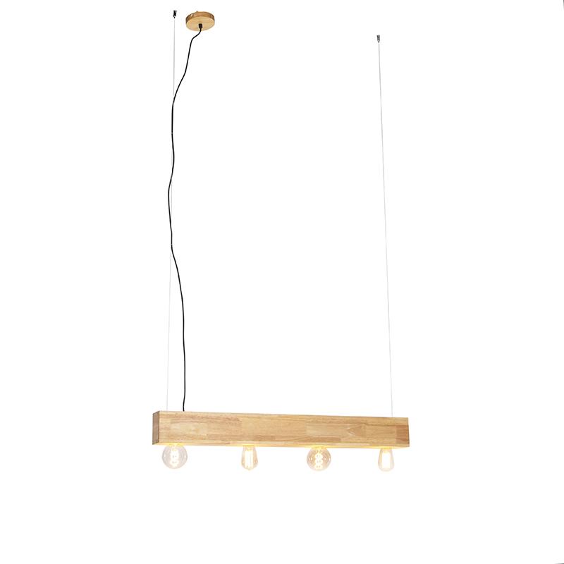 Wiejska lampa wisząca z drewna 4 światła - Sema