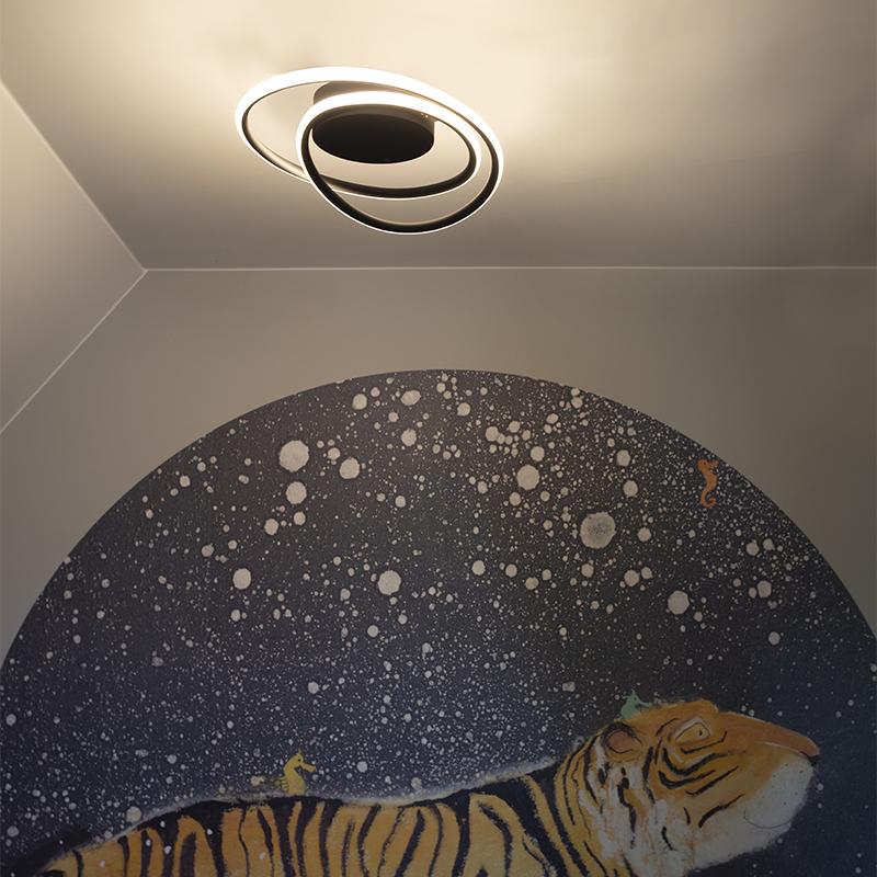 Design plafondlamp zwart incl. LED 3 staps dimbaar - Rowan