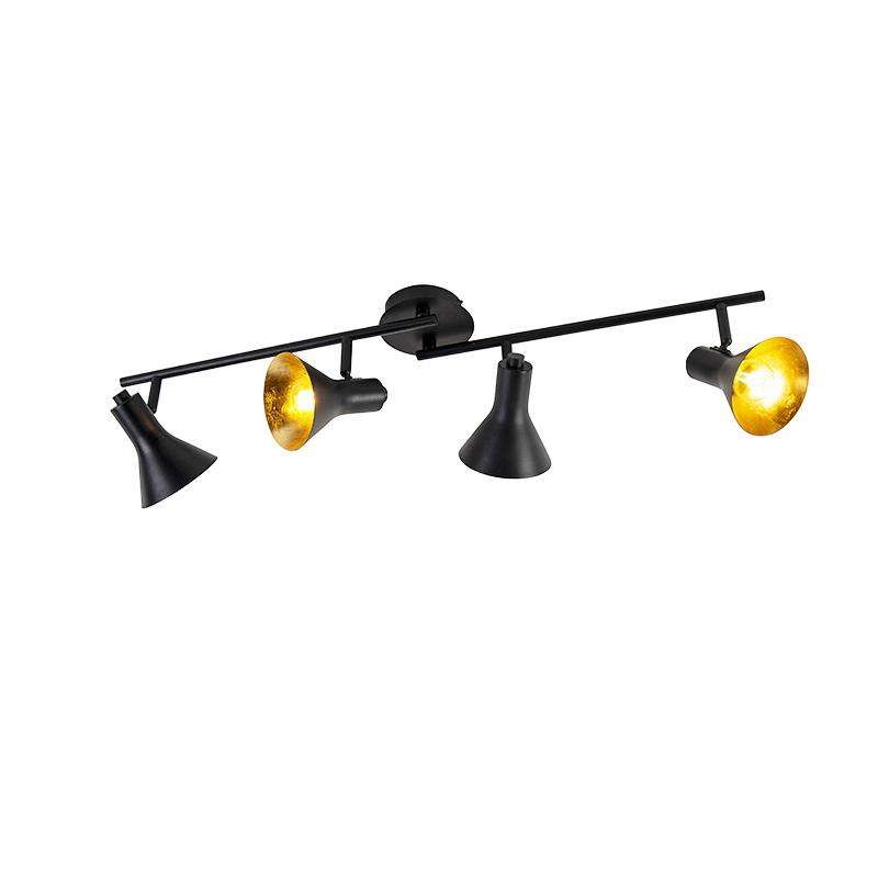 Moderne spot zwart met goud 4-lichts - Magno