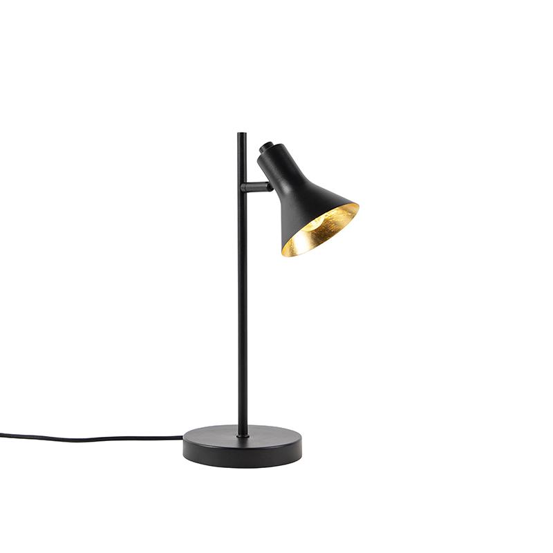 Nowoczesna lampa stołowa czarna ze złotym 1-źródło światła - Magno