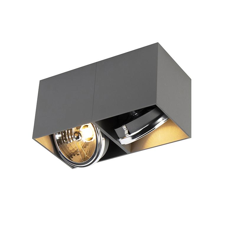 Design spot rechthoekig 2-lichts grijs incl. 2 x G9 - Box