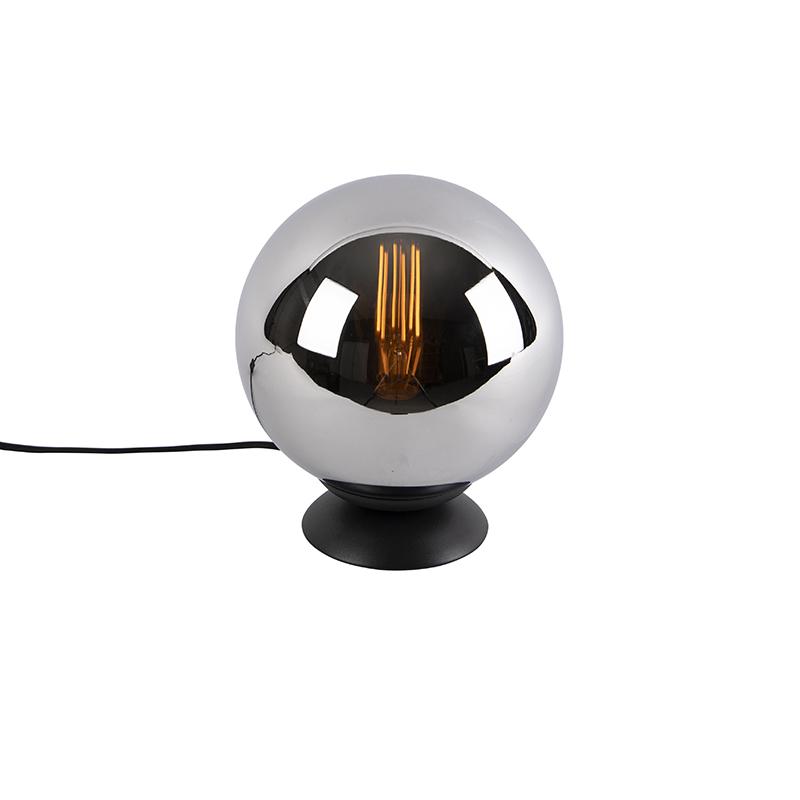 Lampa stołowa art deco czarna przydymione szkło - Pallon