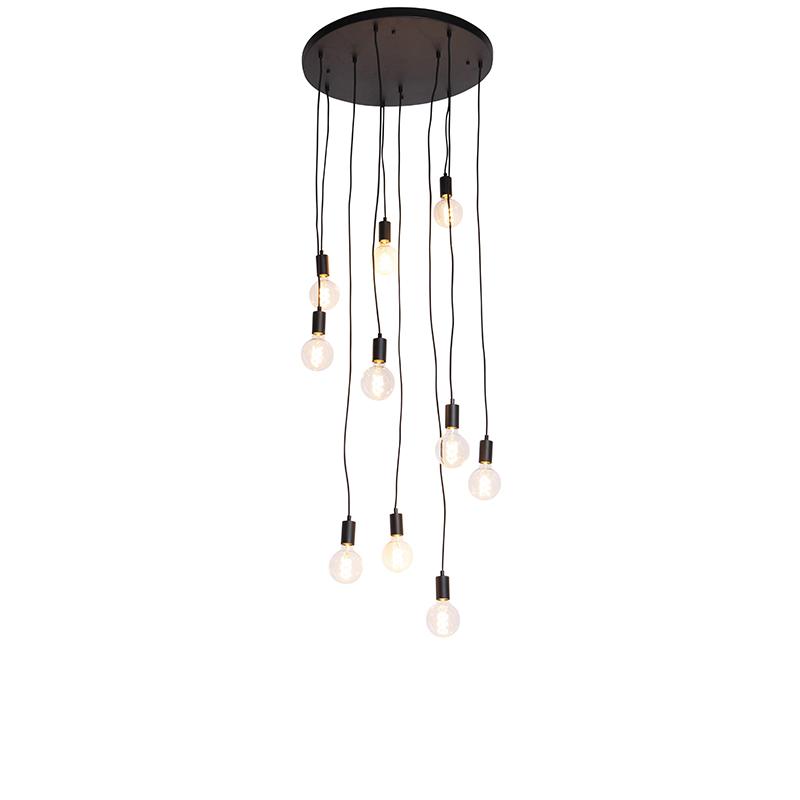 Nowoczesna lampa wisząca czarna 60cm 10-źródeł światła - Facil