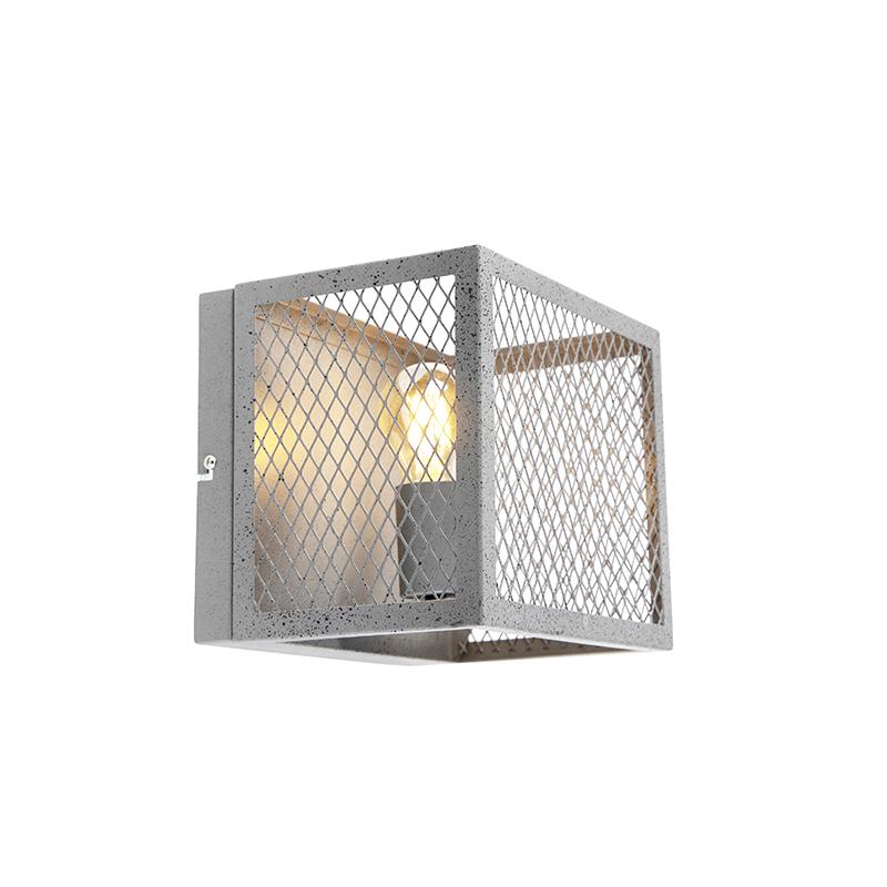 Przemysłowy kinkiet antyczne srebro - Cage Robusto