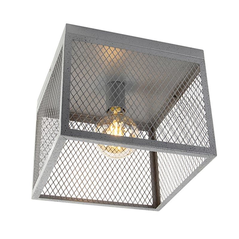 Industriële plafondlamp antiek zilver - Cage Robusto