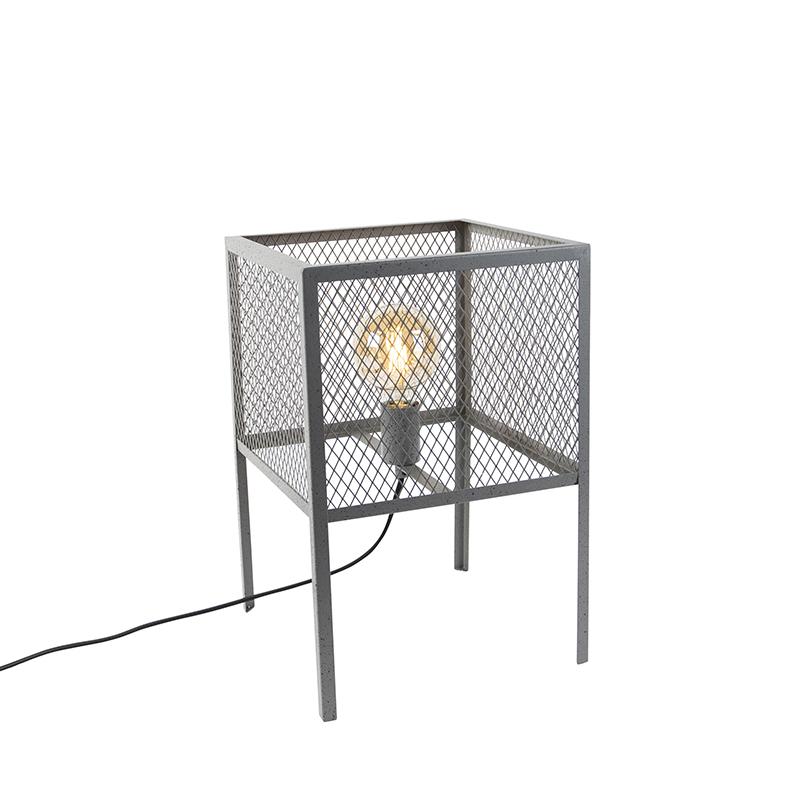 Przemysłowa lampa stołowa antyczne srebro - Cage Robusto
