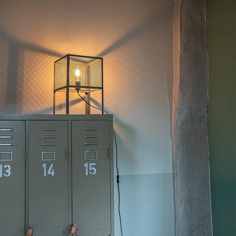 Industri�le tafellamp antiek zilver - Cage Robusto