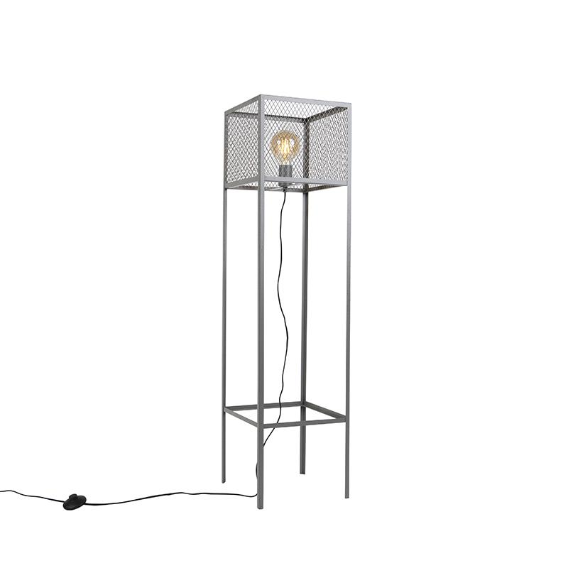 Industriële vierkante vloerlamp antiek zilver - Cage Robusto