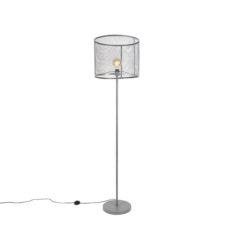 Przemysłowa okrągła lampa podłogowa antyczne srebro - Cage Robusto