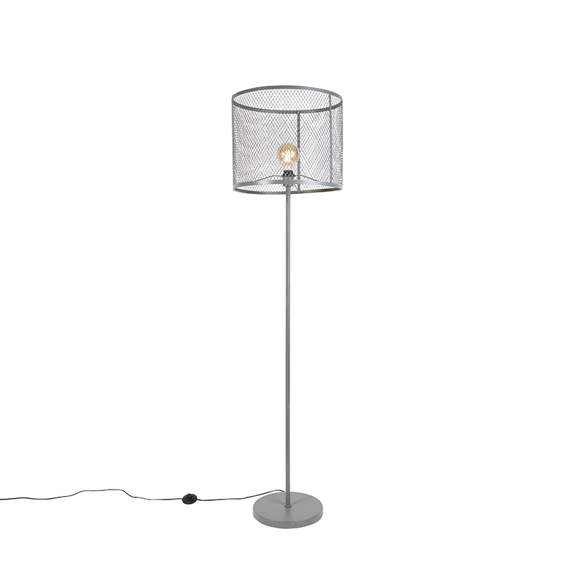 Industri�le ronde vloerlamp antiek zilver - Cage Robusto