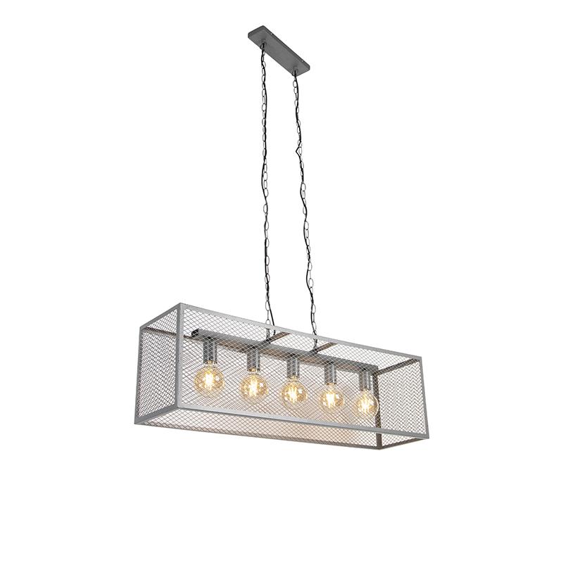 Przemysłowa lampa wisząca antyczne srebro 5-źródeł światła - Cage Robusto