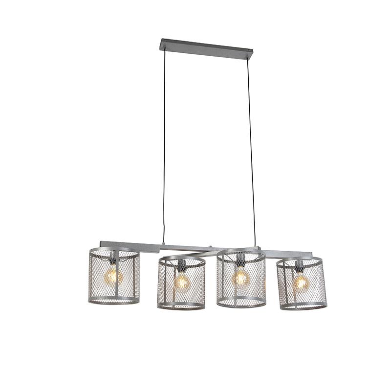 Industriële hanglamp antiek zilver 4-lichts - Cage Robusto