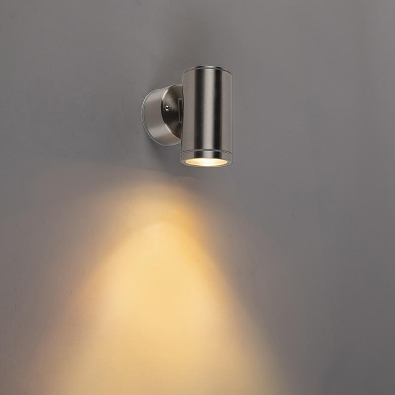 Moderne wandlamp staal 1-lichts IP55 - Bashful