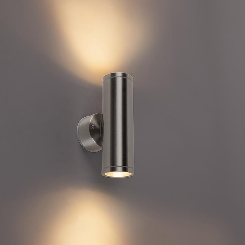 Moderne buitenwandlamp staal 2-lichts IP55 - Bashful