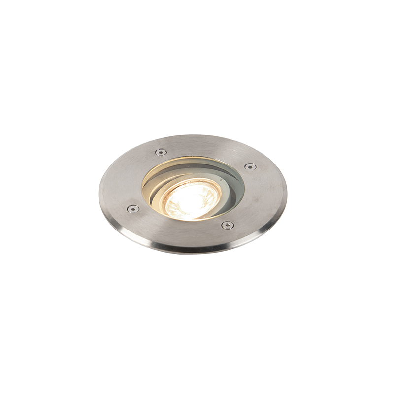 Moderne ronde grondspot staal GU10 - Basic Round