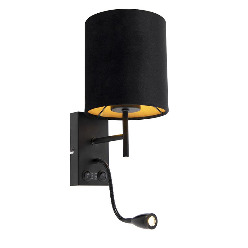 Art Deco wandlamp zwart met velours kap - Stacca