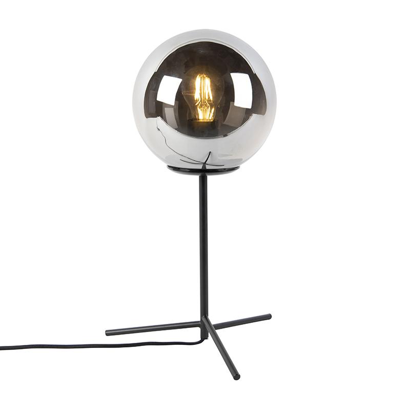 Art deco tafellamp zwart met smoke glas 45,5 cm - Pallon