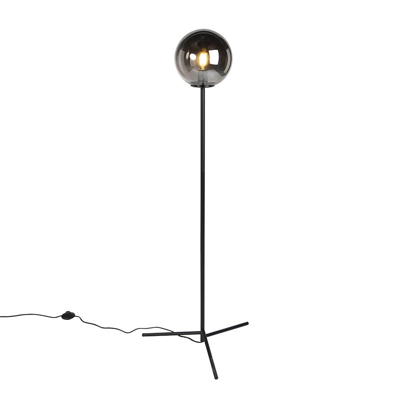 Art deco gulvlampe sort med røgglas - Pallon