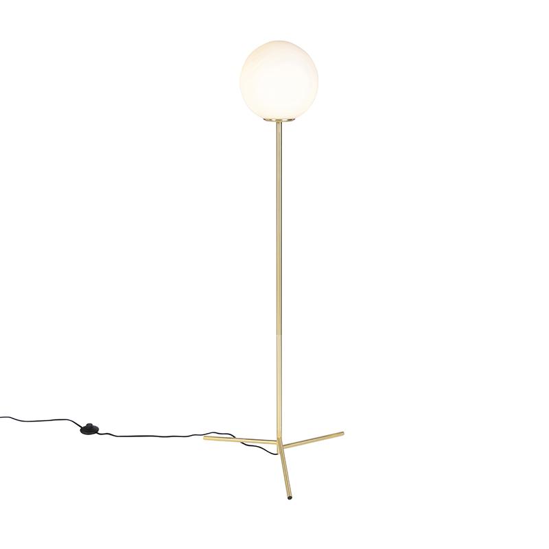 Lampa podłogowa w stylu art deco mosiądz z mlecznobiałym szkłem - Pallon