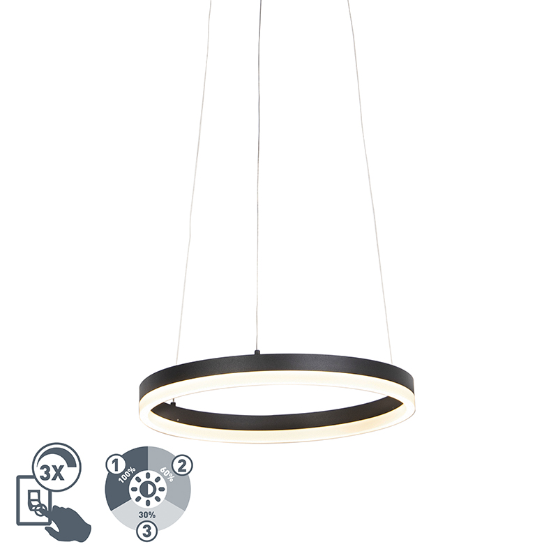 Design ring hanglamp zwart 40 cm incl. LED en dimmer - Anello