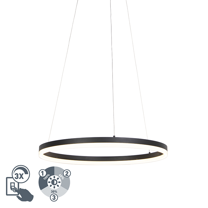 Design ring hanglamp zwart 60cm incl. LED en dimmer - Anello