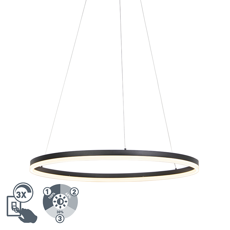 Design ring hanglamp zwart 80cm incl. LED en dimmer - Anello