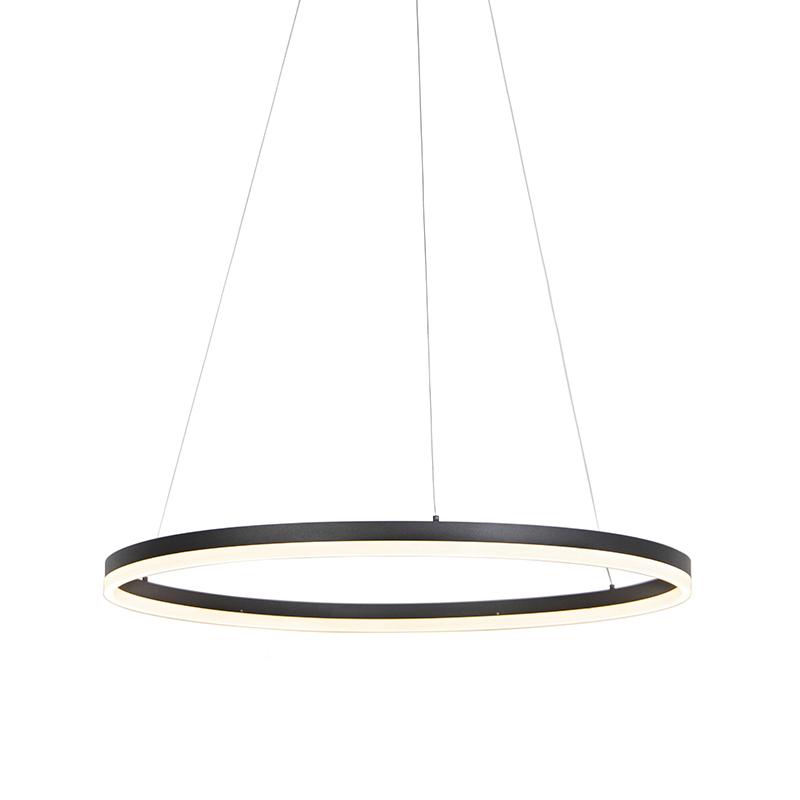 Designerska lampa wisząca czarna 80 cm LED ściemnialna - Anello